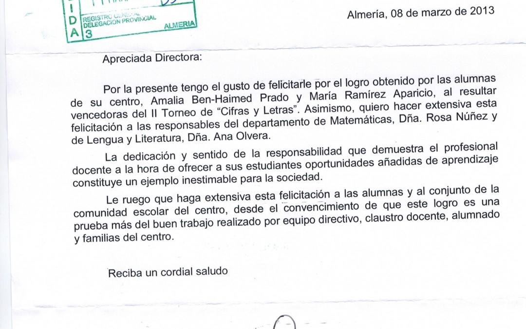 Carta de la Delegada al IES Maestro Padilla