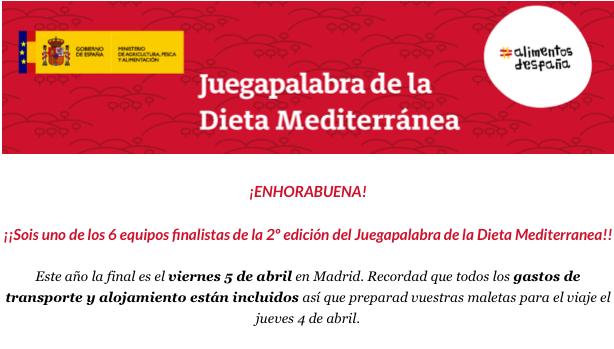 """Fase final """"Juegapalabra de la dieta mediterránea""""     Nos vamos a Madrid"""