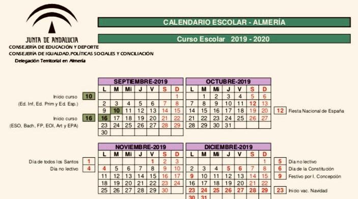 Calendario de recepción del curso 2019/20